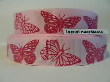Grosgrain Ribbon, Hot Pink Glitter Butterflies, Beautiful Butterfly, Nature, 7/8