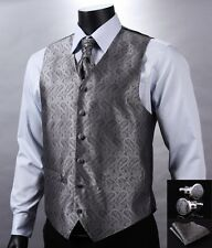 VE01 Gray Silver Paisley Men Silk Waistcoat Vest Pocket Square Cravat Suit Set