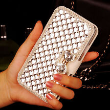 Elegant Bling Crystal Rhinestone White Wallet Leather Case For HTC Smart Phone