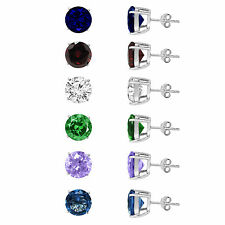 Sterling Silver Round Stud Earrings Swarovski Crystal Cubic Zirconia 10mm 3CT