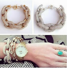 Unisex Chunky Fashion Jewelry Gold / Silver Pave Rhinestones Link Charm Bracelet