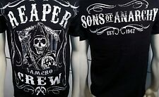 SOA SONS OF ANARCHY REAPER CREW SCROLL SCYTHE BIKER SAMCRO PUNK T SHIRT S-3XL