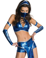 Mortal Kombat Kitana Sexy Blue Ninja Fighter Womens Halloween Costume XS-L