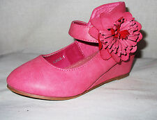 GIRLS PINK FLOWER ROSETTE WEDGE HEEL FORMAL SMART BRIDESMAID PARTY SHOES