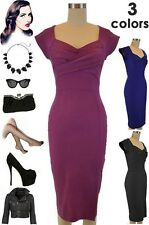 50s Style Bengaline Tight Fit TWISTED BUST PINUP Wiggle Dress - 3 Colors!