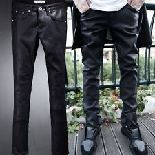 BytheR Men's Korean Fashion Rubber Coating Basic Skinny Pants SFSELFAA0021480