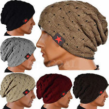 Men Women Chunky Knitted Winter Star Reversible Baggy Beanie Cap Ski Skull Hat