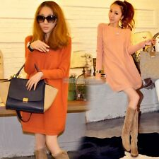 Women Loose Knitted Pullover Jumper Sweater Blouse Oversized Pink Orange EP98