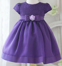 Classic Lace Satin Baby Flower Girl Dress Pageant Wedding Bridesmaid Communion