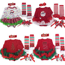 4pcs Baby Girls Infant Long Sleeve Fall Romper Christmas Costume Outfit Clothes