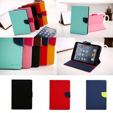 Dual Color Diary Flip Wallet Stand Case TPU Cover for Apple iPad 2 3 4/Air/Mini