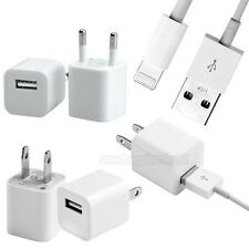 USB Home AC Wall Charger + 8 Pin Data Sync Cable Cord for iPhone 5 5S 5C Touch 5
