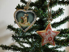 Vintage Shabby Chic Christmas Star & New Year Hanging Heart Xmas Tree Decoration