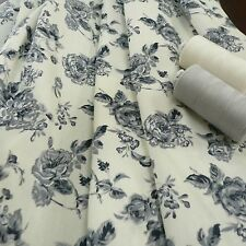 Floral cotton Poplin print Fabric cream & grey - fat quarter, by the yard or M