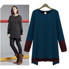 Women's Asymmetrical Hem Stretch Tops Long Tunic Casual Loose Round Neck Blouse