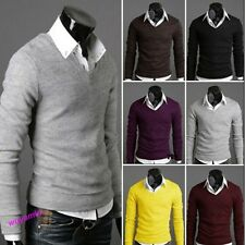 Hot Sale New Fashion Mens Slim Fit V-neck Sweater Jumper Tops Cardigan 6 Colors