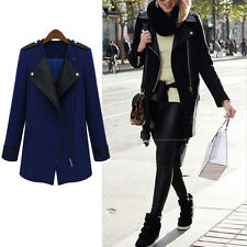 Fashion Womens Long PU Leather Sleeve Jacket Coat Warm Parka Trench Windbreaker