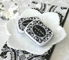 24 Damask Personalized Mint Candy Tins Wedding Party Supplies Favors
