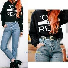 2015 New Womens Cropped Hoodie Letter Print Thicken Hooded Casual Sweater Coat