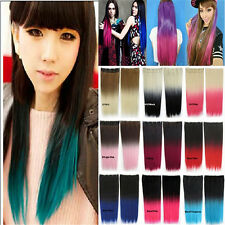 Trendy Ombre Synthetic Long Straight Five Clips Two Tone Gradient Hair Extension