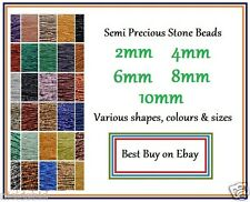 "SEMI PRECIOUS ROUND STONE BEADS SIZE 2mm to 10mm VARIOUS TYPES 16"" STRANDS (M66)"