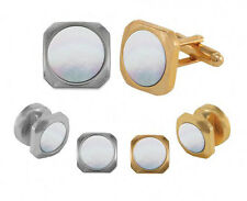 Mother of Pearl Soft Square Tuxedo Cufflinks and Studs Silver or Gold