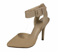 Rosita! Delicious Women Pointy Toe Buckle Strap Oatmeal Taupe Nubuck Leatherette