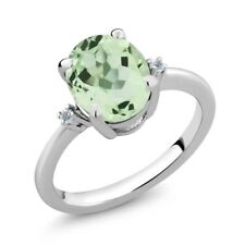 2.67 Ct Oval Green Amethyst White Topaz 925 Sterling Silver Ring