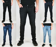 NEW MENS SKINNY STRETCH DENIM JEANS - Slim Fit in Black / Indigo washes