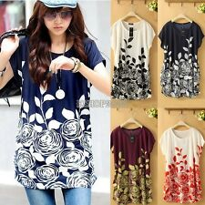 Fashion Women's Loose Batwing Sleeve Flower Print T-Shirt Summer Tee Blouse Tops