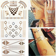 Waterproof Body Makeup Temporary Tattoo Metallic Stickers Gold Silver Flash New