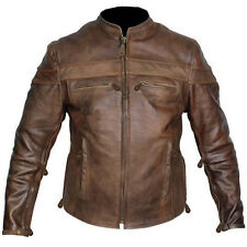 New mens retro brown top grain buffalo hide cafe leather racer motorcycle jacket