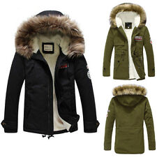 New Men's Faux Fur Long Winter Trench Coat Jacket Hooded Parka Overcoat