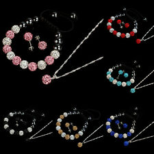 10MM Crystal Ball Jewelry Shamballa Bracelet Earrings Necklace Set New Gorgeous