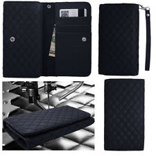QUILTED Black Leather Wallet Universal Pouch Cover Case For LG Phones