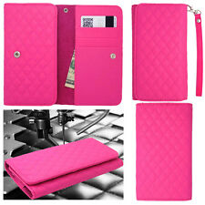 QUILTED Pink Leather Wallet Universal Pouch Cover Case For Samsung Phones