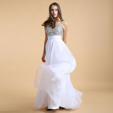 Women Empire Long Chiffon Evening Formal Bridesmaid Ball Gown Prom Party Dresses