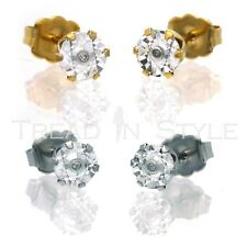 Mens Ladies Gold Finish Genuine Real Diamond Solitaire Round Stud Earring Fanook