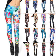 2014 Women's Punk Pattern 3D Print Leggings Stretchy Jeggings Pencil Tight Pants