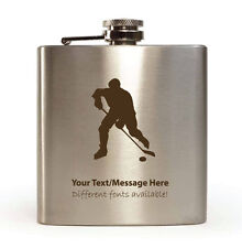 6oz Hip Flask with Gift Box - Personalised With Your Name (Ice Hockey Design)