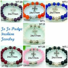 Cross Charm Bracelet -Shamballa Stlye with Beads/ Stretch-  7 Colors -  B37