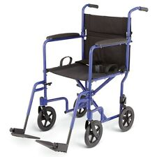 "Medline 19"" Ultra Lightweight Transport Wheelchair, Just 19lbs - MDS808200A"
