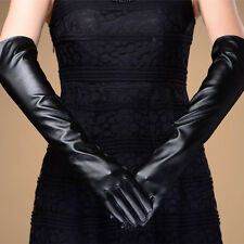 Women's Girls Opera Long Gloves Lambskin Warm Lined PU LEATHER Gift
