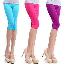 Hot  Womens Tight Pants Stretch Leggings Pencil Pants Basic Candy Color Shorts