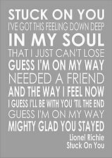 Lionel Richie - Stuck On You - Word Wall Art Typography Song Lyrics Lyric Verse