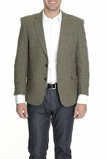 Tommy Hilfiger Trim Fit Olive Houndstooth Worsted Wool Blazer Sportcoat