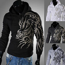 Fashion Mens Sexy Slim Fit Dragon Hooded Pullover Hoodies Jackets Sweat Coat Top