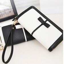 Women's PU Leather Clutch Long Handbag Wallet Purse For iPhone 6 Plus Case White