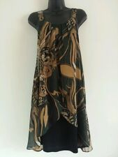 NEW EVANS Plus Size 16-28 Paisley Print Green Black Gold Tunic Dress Top Blouse
