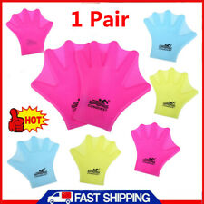 1 Pair Silicone Swimming Gloves Hand Webbed Frog Finger Fins Paddle Palm  R1BO
